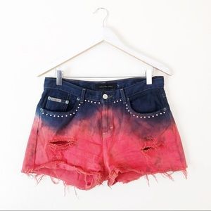 Calvin Klein Ombré Red Blue Dyed Cut Off Shorts